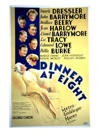 Dinner at Eight, with Marie Dressler, John Barrymore, Wallace Beery, and Lionel Barrymore, 1933