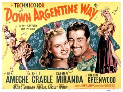 Down Argentine Way, Betty Grable, Don Ameche, Carmen Miranda, 1940