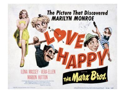 Love Happy, Marilyn Monroe, Marion Hutton, Harpo Marx, Groucho Marx, Chico Marx, 1949