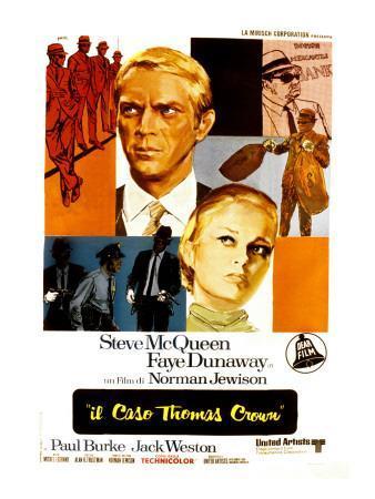 The Thomas Crown Affair, Italian Poster Art, Steve McQueen, Faye Dunaway, 1968