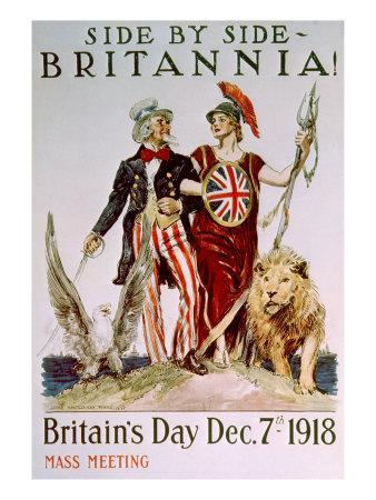 World War I Victory Poster Celebrating the American-British Relationship, 1918