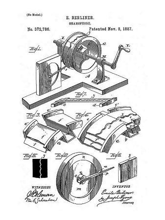 Early Recording Device: the Berliner Gramophone Patent Diagram, 1887
