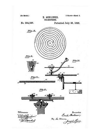 Early Recording Device: the Berliner Gramophone Detail of Turntable, Patent, 1896