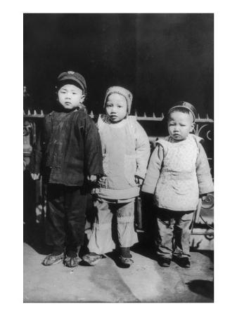 Chinese New Year, Three Children Posed, New Year's Day, Chinatown, New York City, 1909
