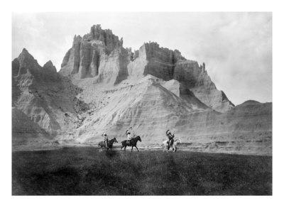 Entering the Badlands, Three Sioux Indians on Horseback, 1905