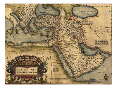 1570 Map of Asia Minor, Then the Ottoman Empire, from Abraham Ortelius' Atlas
