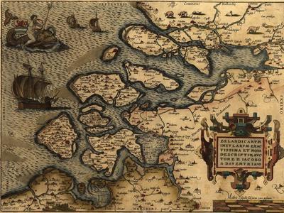 1570 Map of Zeeland. from Abraham Ortelius' Atlas, Theatrvm Orbis Terrarvm
