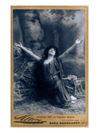 Sarah Bernhardt, French Actress, in Dramatic Pose, Kneeling with Arms Raised, 1892