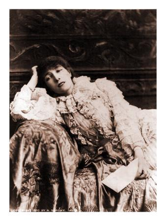 Sarah Bernhardt, French Actress, Reclining on a Divan in an 1880's Portrait