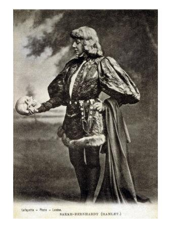 Sarah Bernhardt, French Actress, in Role of Shakespeare's Hamlet. 1887