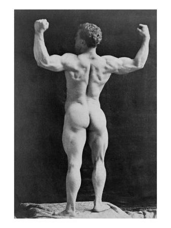 Eugen Sandow, German Born Strongman, in Muscleman Pose, Standing, Rear View, with Fists Raised