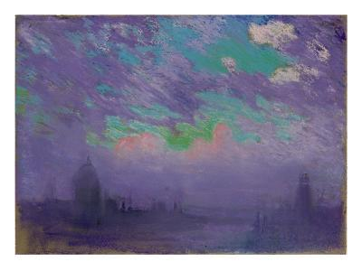 London Depicted in a Deeply Colored Pastel, 1910