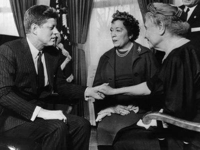 John F. Kennedy, Evelyn Seide, Helen Keller, at the White House, Washington D.C., April 8, 1961