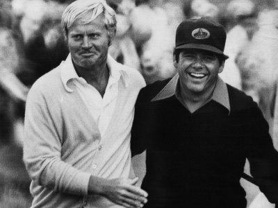 Jack Nicklaus, Lee Trevino, at U.S. Open Championship in Pebble Beach, California, June 18, 1972