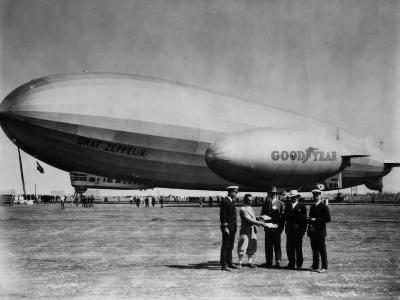 The LZ 129 Graf Zeppelin, and the Volunteer, a Goodyear Blimp, 1930s