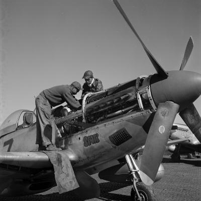 Tuskegee Airmen Marcellus G. Smith, Roscoe C. Brown, Ramitelli, Italy, March 1945
