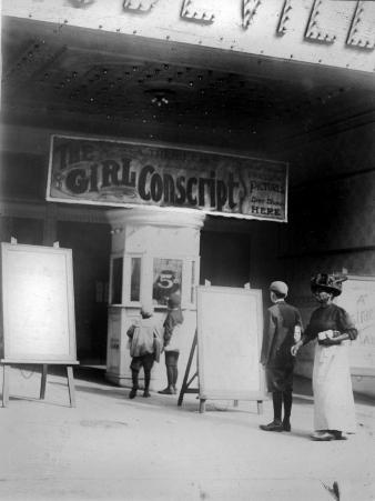 People in Front of a Movie Theater Showing the Girl Conscript, Wilmington, Delaware, May, 1910