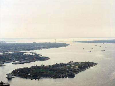 New York City, Aerial View of Governor's Island Looking South from the World Trade Center