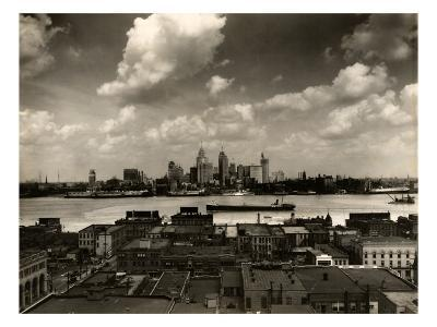 Detroit Skyline and Boats on the Detroit River as Seen from Windsor, Ontario, 1929
