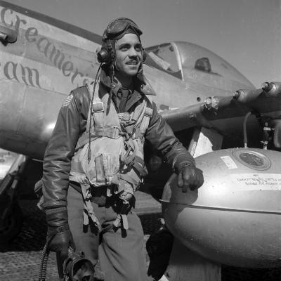 Tuskegee Fighter Pilot Poses with His P-51D Mustang, Ramitelli, Italy, March 1945