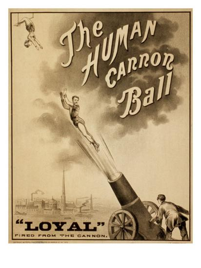 1879 Circus Poster For Human Cannonball Aerial Acrobatic