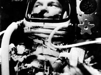 Astronaut John Glenn in His Space Capsule, February 20, 1962