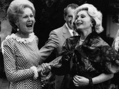 First Lady Patricia Nixon with Zsa Zsa Gabor, in California, 1972