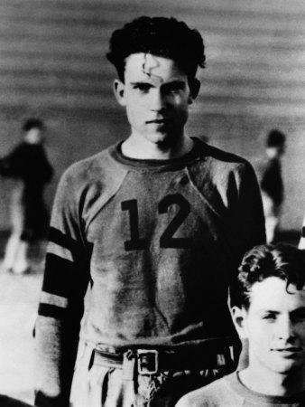 US President Richard Nixon, on Whittier College Football Team, Whittier, California, Early 1930s
