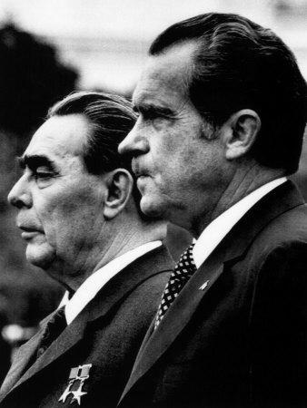 Soviet Premier Leonid Brezhnev and US President Richard Nixon at White House, Washington DC, 1973