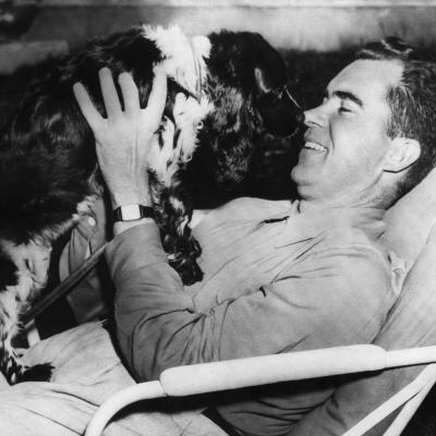 Senator and Vice Presidential Candidate Richard Nixon with His Dog, Checkers, 1952