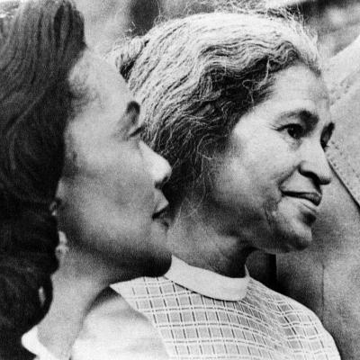 Civil Rights Activists Coretta King and Rosa Parks in Montgomery, Alabama, 1975