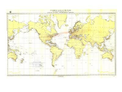 1896 Submarine Cables of the World Map