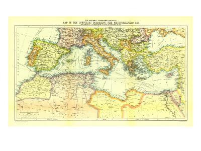 1912 Countries Bordering the Mediterranean Sea Map