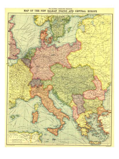 1914 New Balkan States And Central Europe Map Prints By National