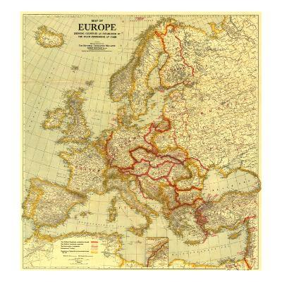 1921 Map of Europe Showing the Countries Established by the Peace Conference of Paris