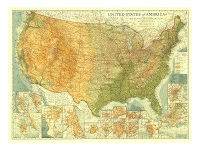 United States Of America Map.1923 United States Of America Map Prints By National Geographic Maps