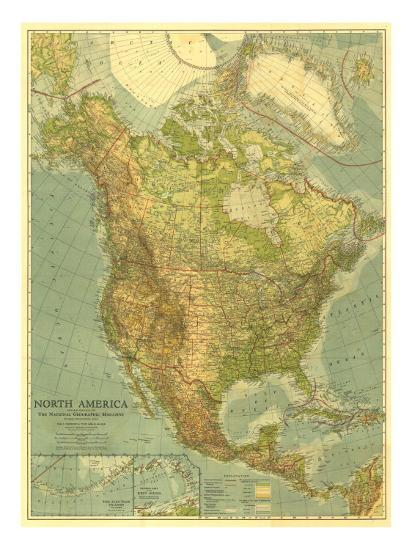 1924 North America Map Prints by National Geographic Maps at ...