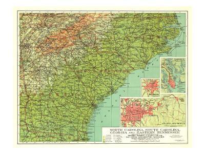1926 North Carolina, South Carolina, Georgia and Eastern Tennessee Map