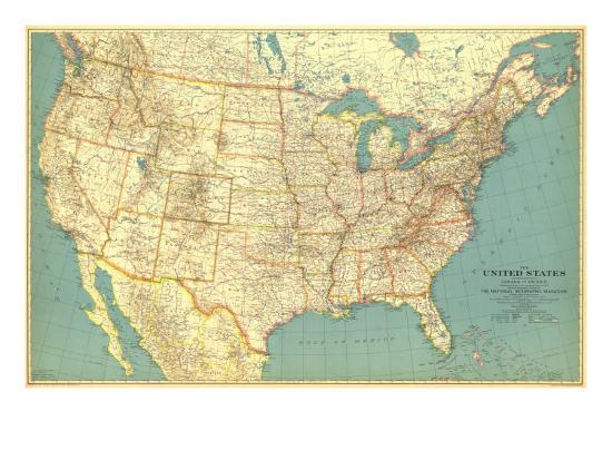 Pictures Of The United States Of America Map.1933 United States Of America Map Prints By National Geographic Maps