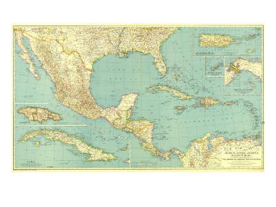 1934 Mexico, Central America and the West Indies Map
