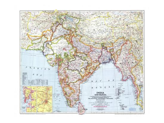 1946 India and Burma Map Posters by National Geographic Maps at ...