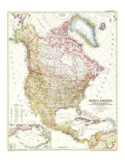 1952 North America Map