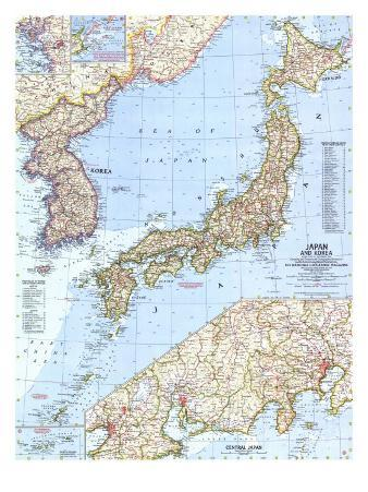 1960 Japan and Korea Map