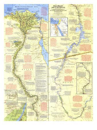 1965 Nile Valley, Land of the Pharaohs Map