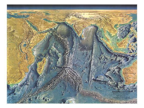 1967 Indian Ocean Floor Map Prints by