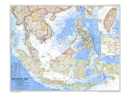 Geographical Map Of Southeast Asia.1968 Southeast Asia Map