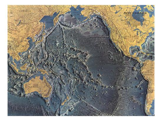 1969 Pacific Ocean Floor Map Posters By National