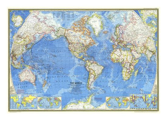 1970 World Map Print By National Geographic Maps At Allposters Com