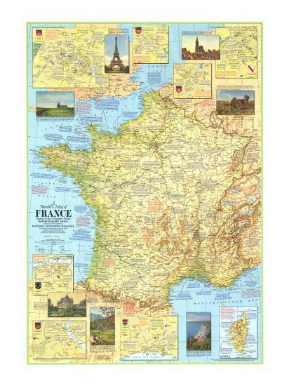 Map Of France Poster.1971 Travelers Map Of France