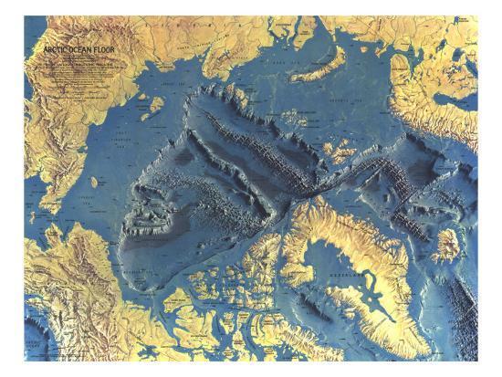 1971 Arctic Ocean Floor Map Posters by